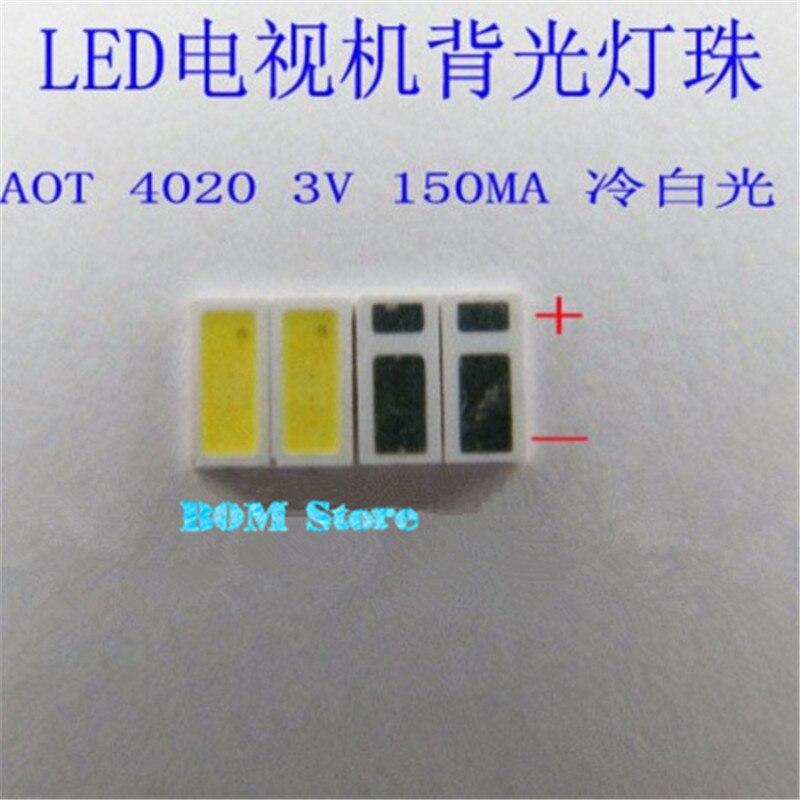 100 шт. АОТ <font><b>LED</b></font> Подсветка 0.5 Вт 3 В <font><b>4020</b></font> 48lm холодный белый ЖК-дисплей Подсветка для ТВ Применение 4020c-w3c4 бесплатная доставка
