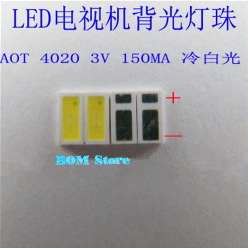 100pcs AOT <font><b>LED</b></font> Backlight 0.5W 3V <font><b>4020</b></font> 48LM Cool white LCD Backlight for TV TV Application 4020C-W3C4 free shipping