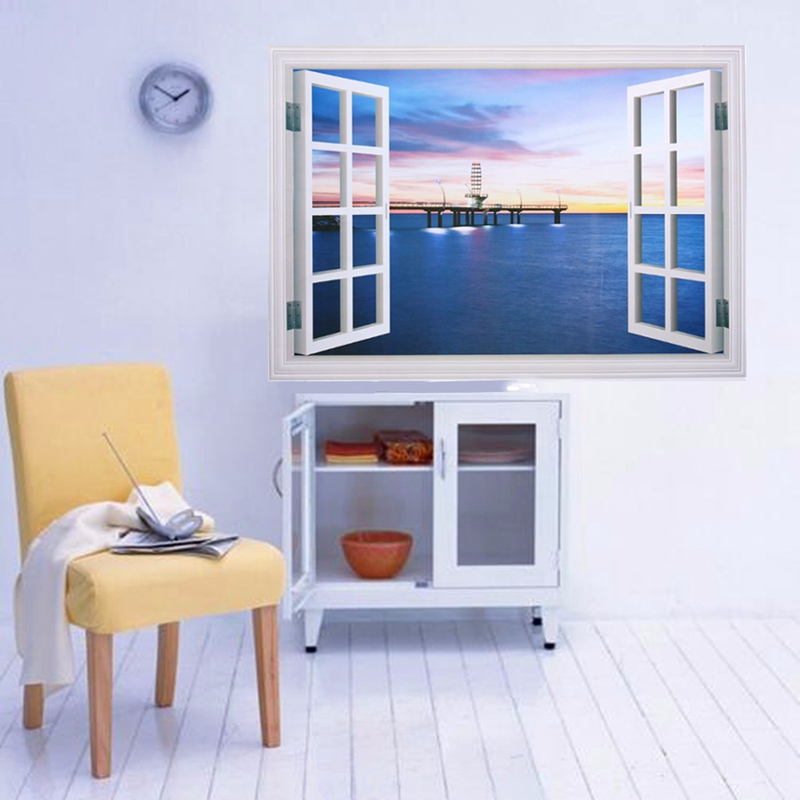 top selling 3d ocean sea beach window wall sticker removable mural home bedroom office living room beach office decor