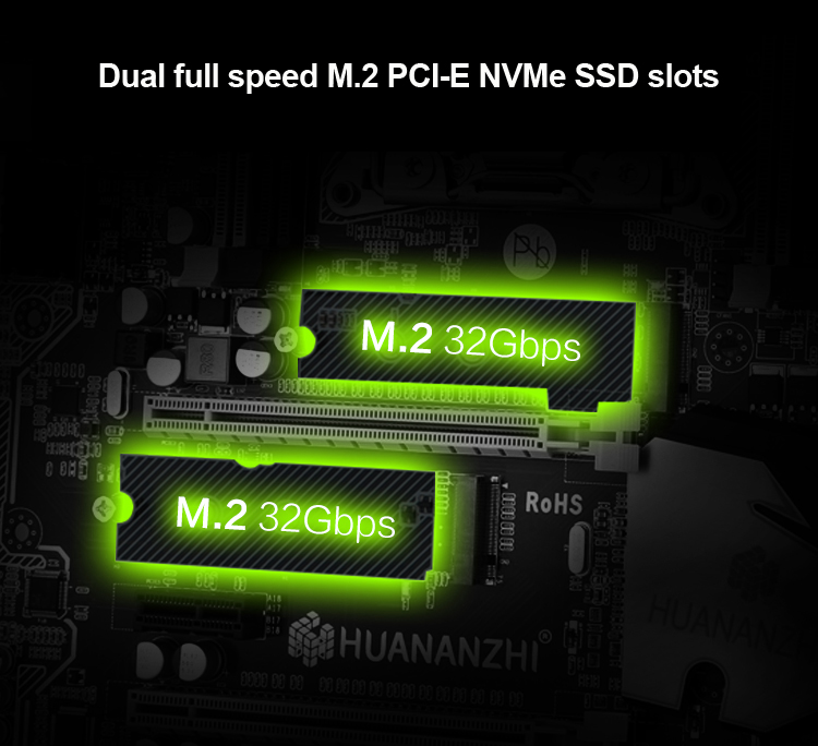 Discount motherboard bundle HUANANZHI X79 Pro motherboard with dual M.2 slot CPU Intel Xeon E5 2650 V2 RAM 4*16G 6 tubes cooler