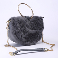 Luxury Real Rabbit Fur Women Handbags Great PU Leather Hobos Shoulder Bag Metal Round Handle Clutch