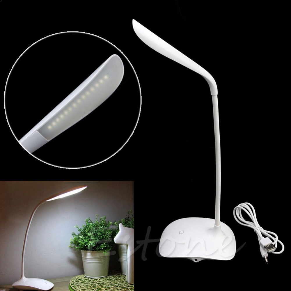 YAM White USB Rechargeable Touch Sensor Cordless LED Light Desk Table Reading Lamp Energy Saving creative 1 2w 450lm tin style energy saving bar counter 8 led touch lamp w plastic casing white href page 2