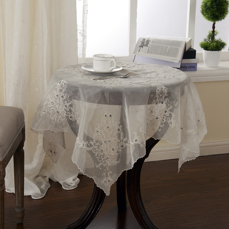 85x85cm Embroidery Tablecloth Organza Square Table cloth With Diamond On Sale