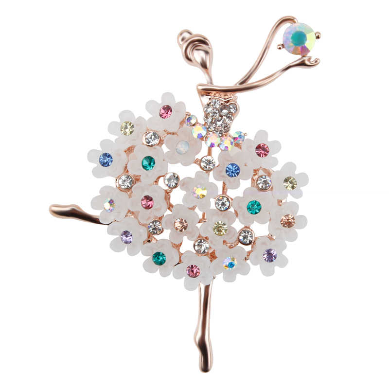 Factory Direct Sale Ballet Dancing Girl Shinning Crystal Glass Brooches for Woman in assorted designs
