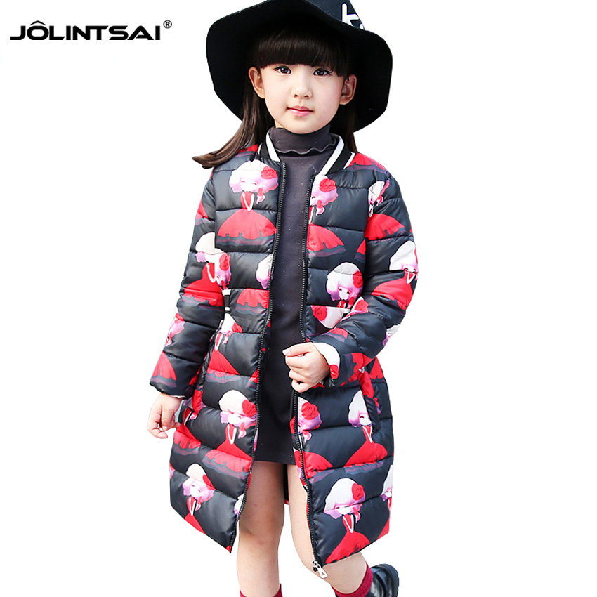Fashion Winter Jacket Girls 2016 Print Cartoon Floral Kids Coat Long Jackets Clothes Long-Sleeve Lovely Coats - Watch$Beads store
