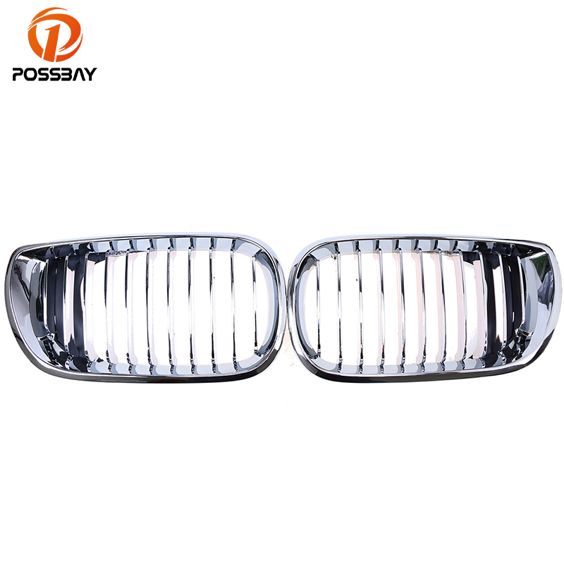 POSSBAY Chrome Silver Kidney Car Front Racing Grille Grills for BMW 3 Series E46 Sedan Touring 318d/318i/320d 2001-2005 Facelift possbay chrome front hood kidney grilles for bmw x5 e53 3 0d 3 0i 4 4i 4 8is 2003 2007 facelift front bumper center grills