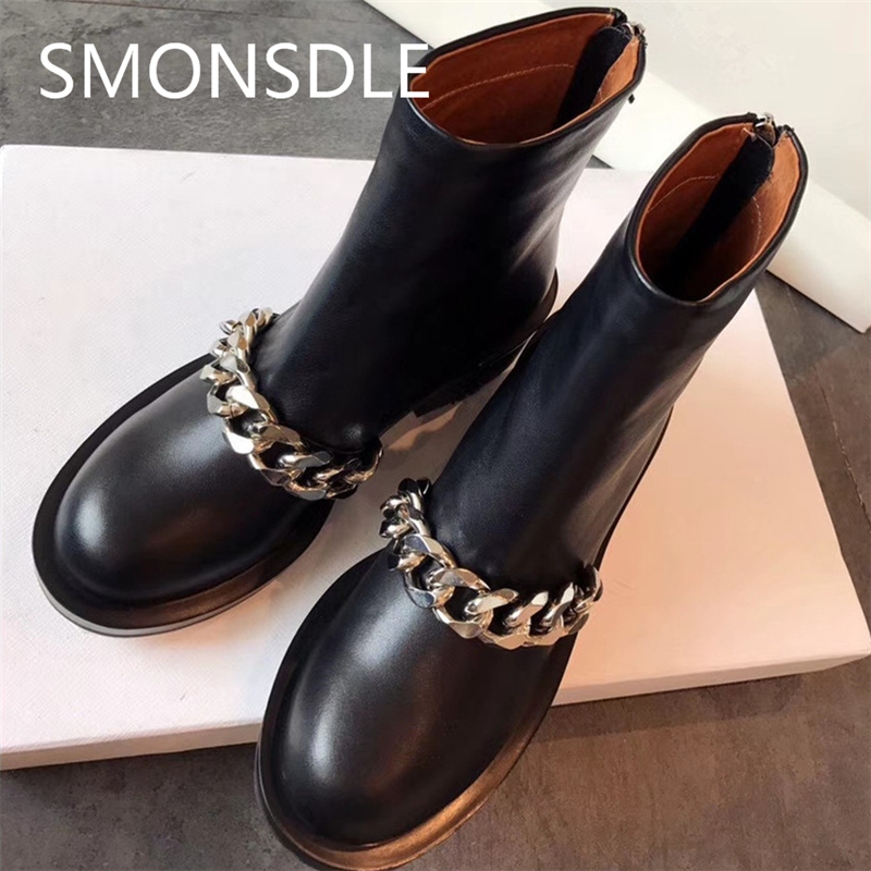 New Spring Autumn Women Real Leather Ankle Boots Silver Gold Metal Chain Round Toe Low Thick Heels Martin Boots Shoes Woman 2018 new spring summer shoes woman ankle hollow boots metal buckle genuine leather mortorcycle boots low thick heel women shoes