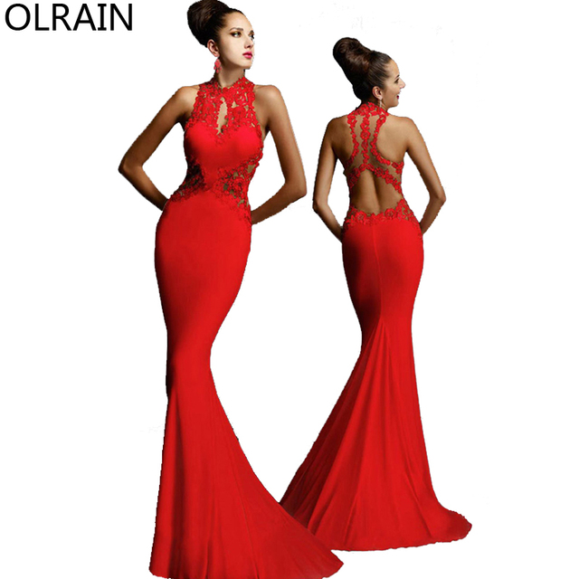 Olrain Women Sexy Sleeveless Backless Long Mermaid Prom Ball Gown Dresses  Formal Evening Party Dress a5bfa468fce3