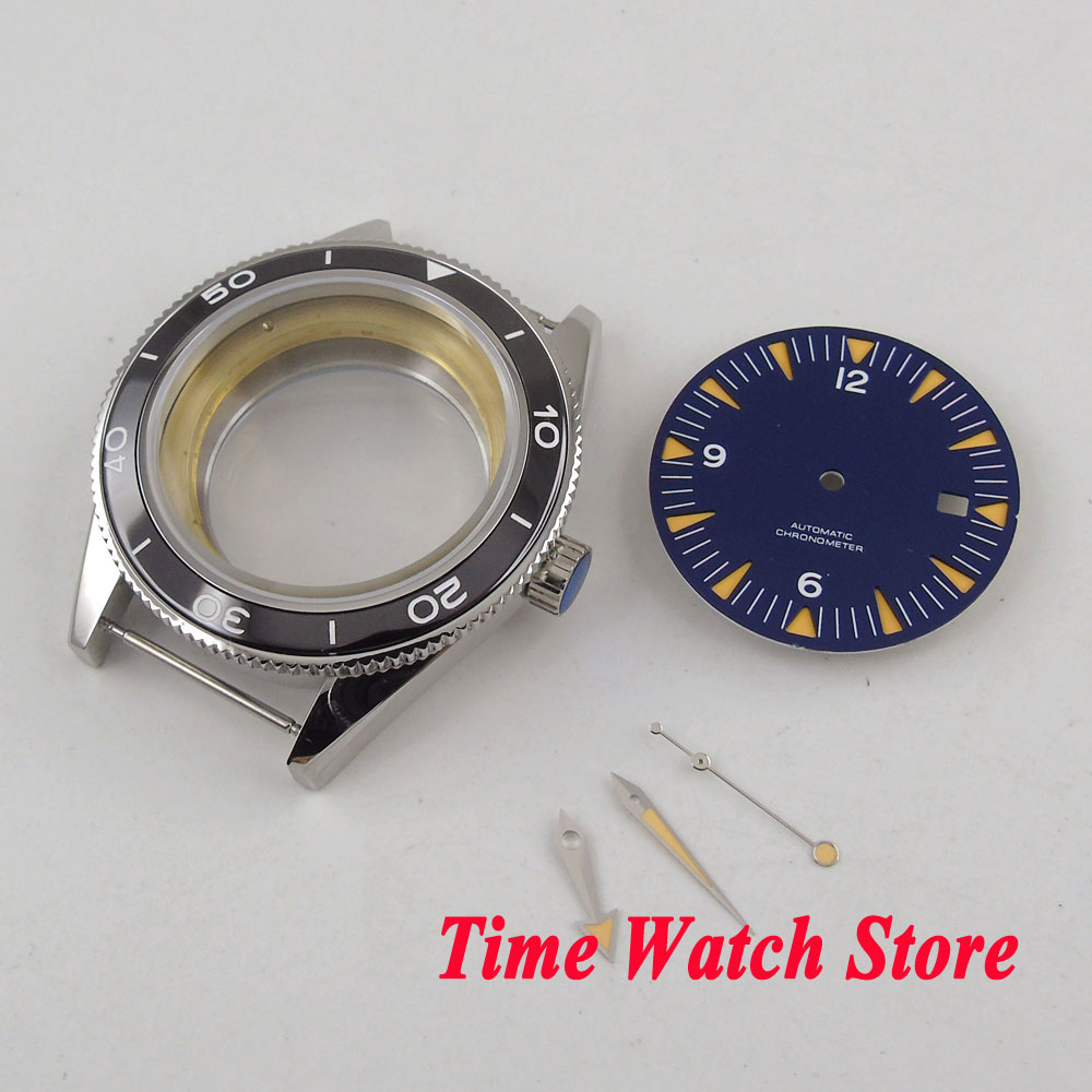 41mm 316L stainless steel watch case 5ATM sapphire glass +blue dial+hands Fit ETA 2836 MIYOTA 8215 movement C133
