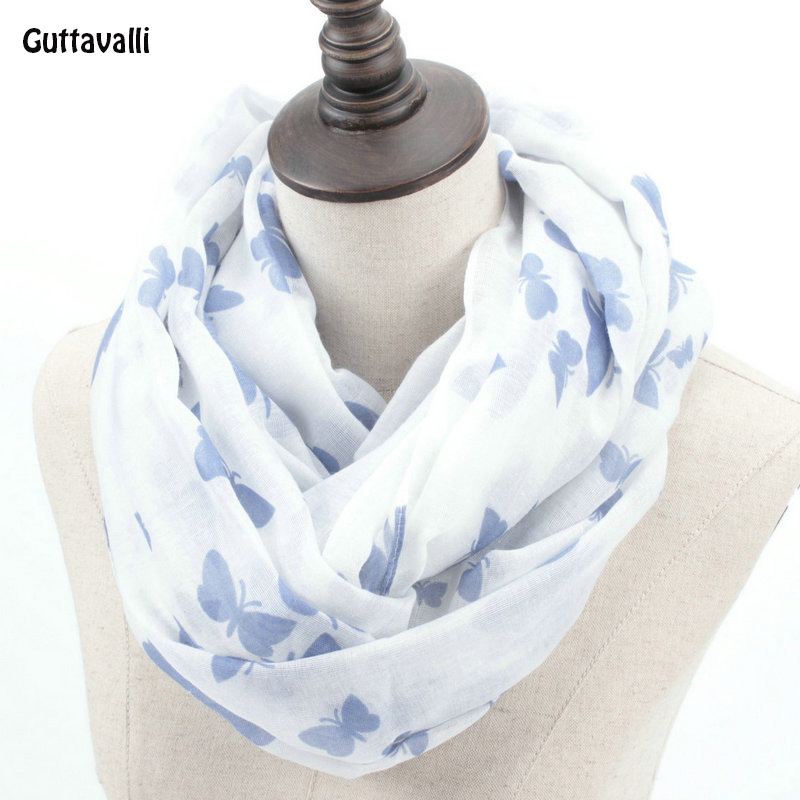 Guttavalli Fashion Woman Solid Butterfly Print Loop Shawl Women Spring Stripes Ring Scarves Female Autumn Animal Infinity Scarf