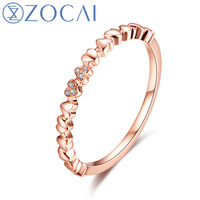 ZOCAI Real 18K Rose Gold (AU750) Genuine 0.01 CT Certified Diamond Wedding Women Ring W06172