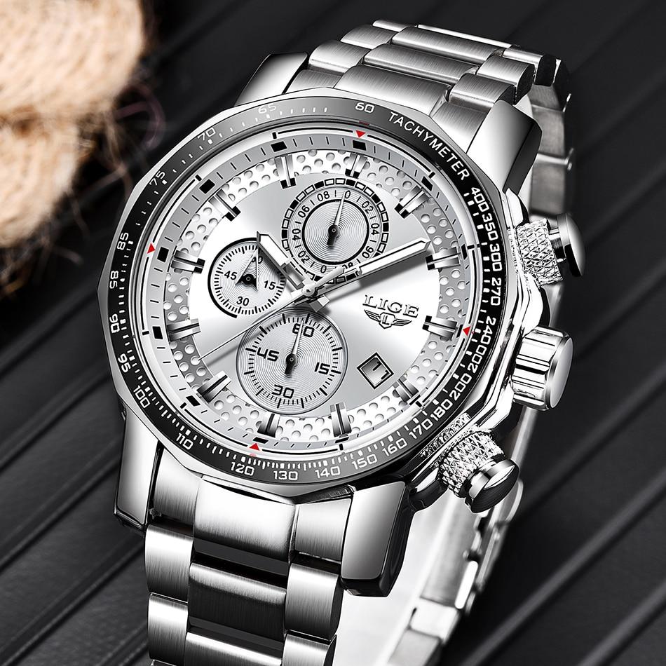 HTB1sMSAa.vrK1RjSspcq6zzSXXaM Relogio Masculino LIGE New Sport Chronograph Mens Watches Top Brand Luxury Full Steel Quartz Clock Waterproof Big Dial Watch Men