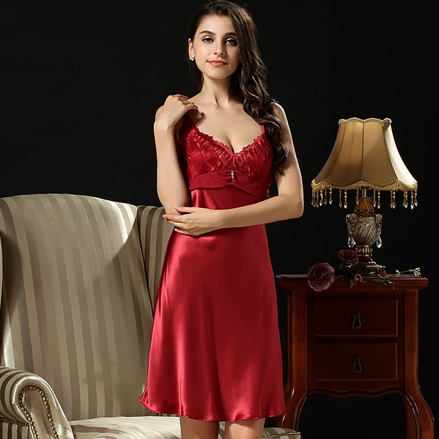 100% Genuína Camisola De Seda Fêmea Laço V-Neck Bordados Nightgowns Lingerie De Seda Vestido De Festa Longo D3398