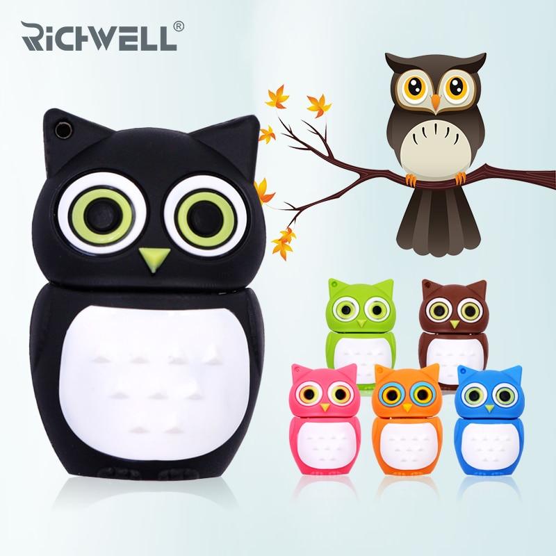 Wholesale cute Cartoon animal owl pendrive 4GB 8GB 16GB 32GB Stick USB Flash Drive F cute cartoon tortoise style usb 2 0 flash drive green light yellow 16gb