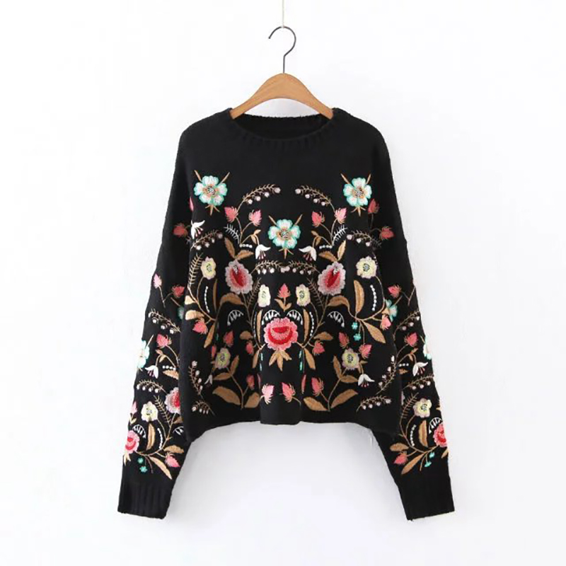 2018 vintage christmas sweater women sweater pullovers long sleeve female floral embroidery sweater elegant jumper pull femme in pullovers from womens