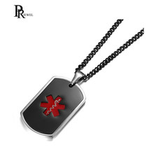 Custom Free Engraved Diabetes Diabetic Medical Alert Tag Pendant Necklace in Enamel Black & Red Color - free personalization(China)