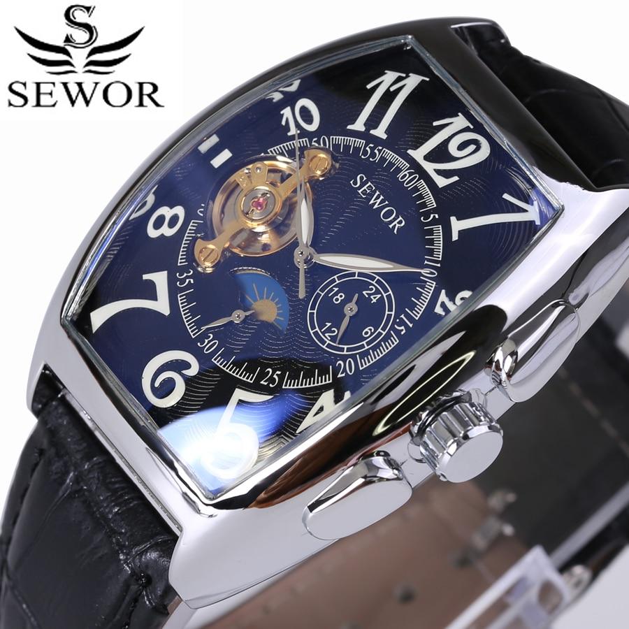 Reloj mecánico automático para hombre Tourbillon Rectangular marca de lujo marca SEWOR