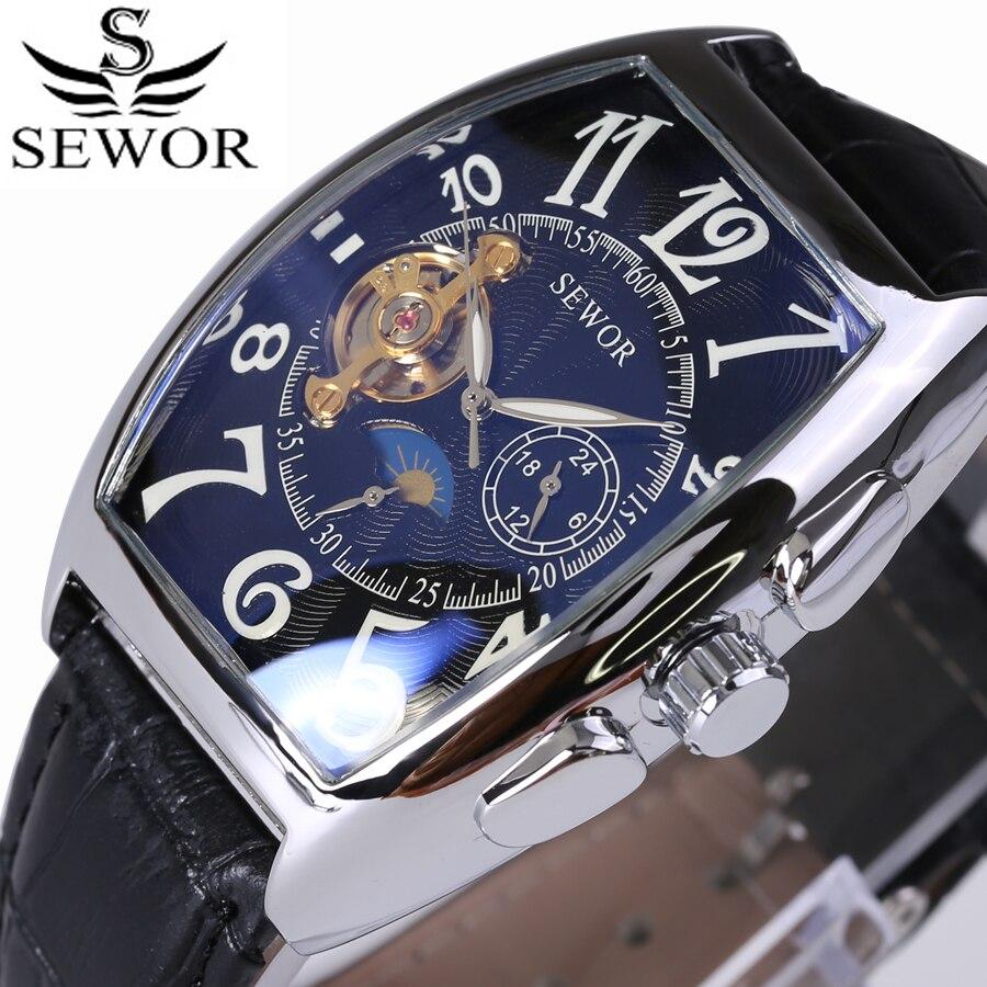 SEWOR Top marque de luxe rectangulaire Tourbillon hommes montres automatique mécanique montre mode Vintage horloge relogio masculino