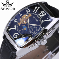 New Relojes Hombre Vintage Leather Brand Relogios Masculino Watch Mechanical Hand Wind Fashion Luxury Watch Tourbillon