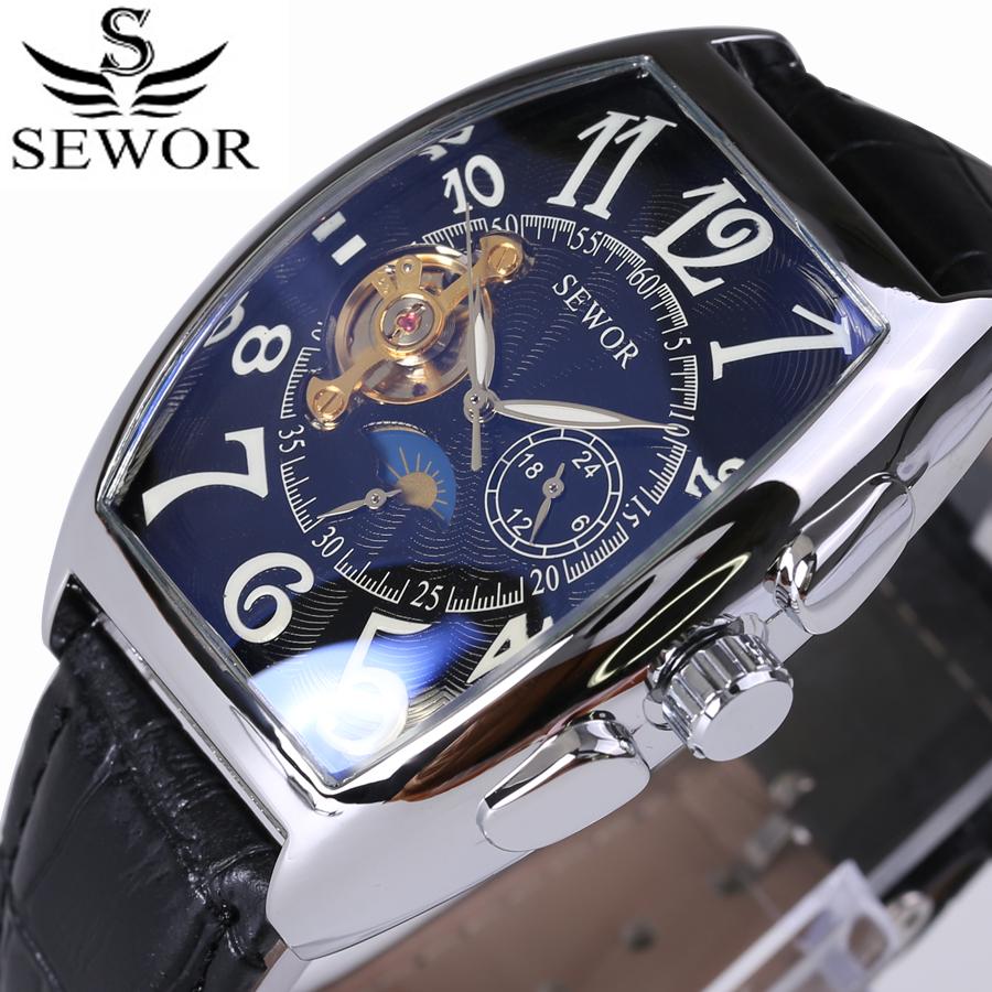Prix pour Sewor top marque de luxe rectangulaire tourbillon hommes montres automatique mécanique montre de mode vintage horloge relogio masculino