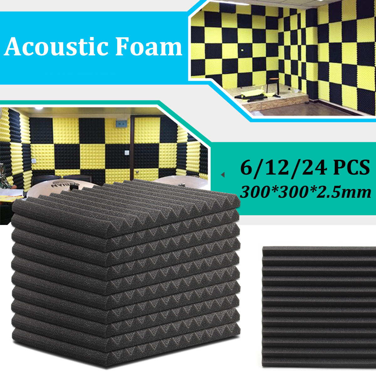 6Pcs /12Pcs 300*300*25mm Acoustic Soundproof Sound Stop Absorption Soundproofing Foam For KTV Audio Room Studio Room