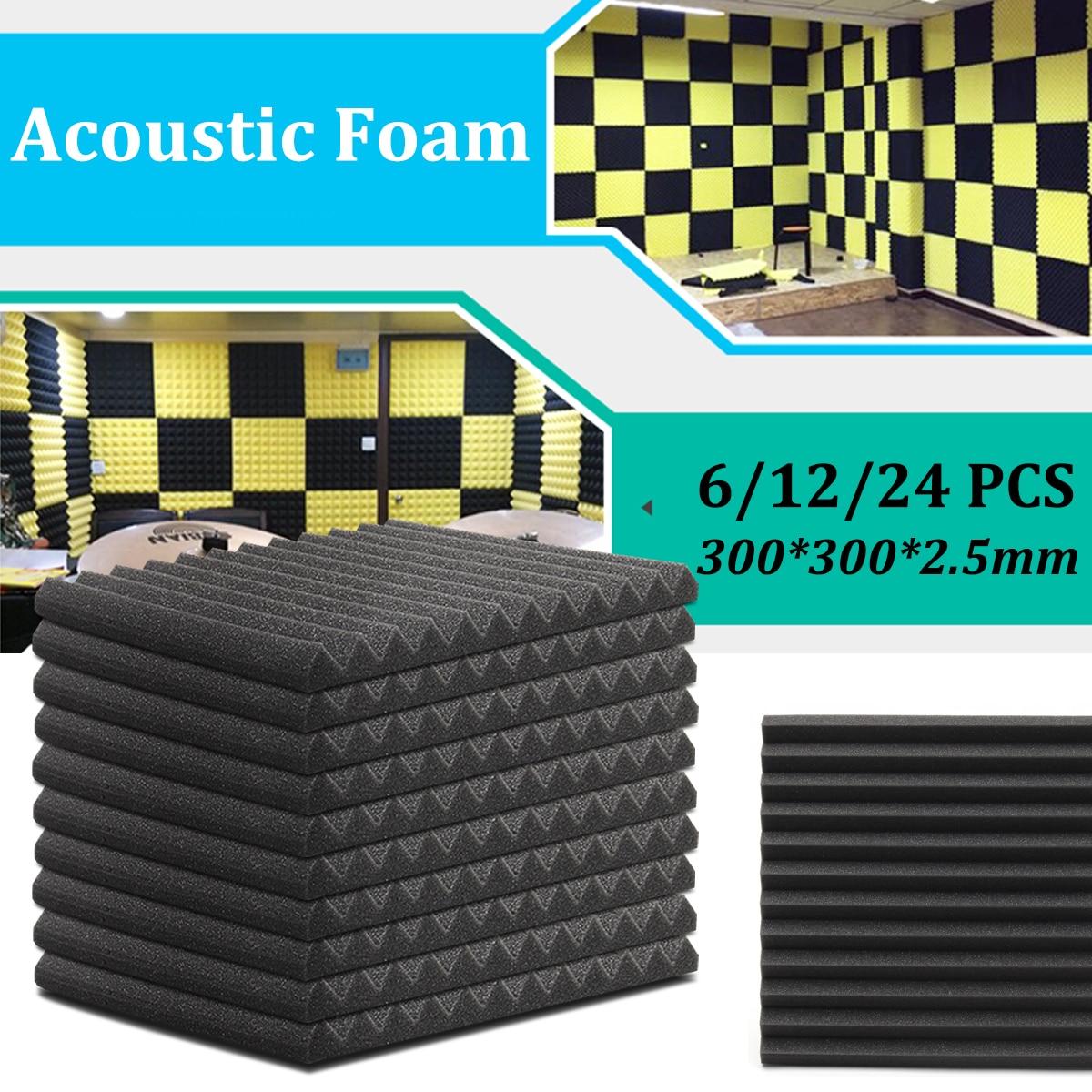 6Pcs /12Pcs 300*300*25mm Acoustic Soundproof Sound Stop Absorption Soundproofing Foam for KTV Audio Room Studio Room