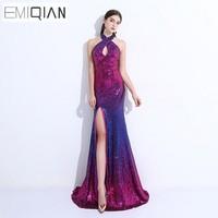 NEW Designer Halter Front Slit Bling Sequin Long Meirmaid Evening Gown Dresses