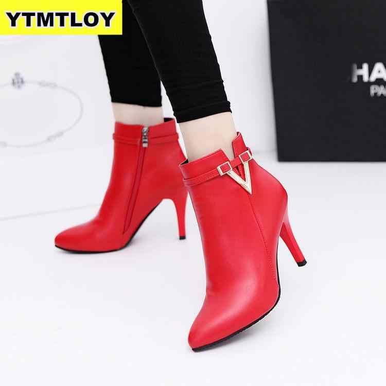 2019 primavera caliente otoño Stiletto tacones altos delgados punta puntiaguda imitación cuero cremallera estilo Sexy tobillo botas para mujer Bota femenina