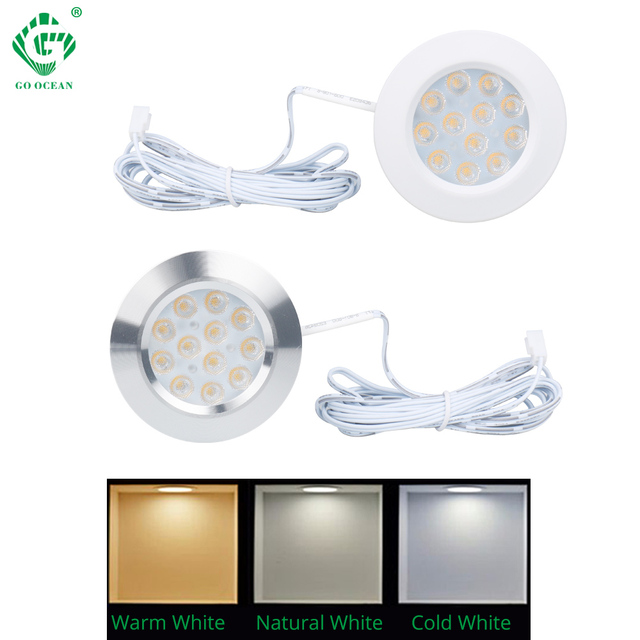 Under Cabinet Light LED 12V 3W Aluminum Cupboard Kitchen Closet Puck Wardrobe Furniture Lamp Counter Showcase Bookshelf Lighting