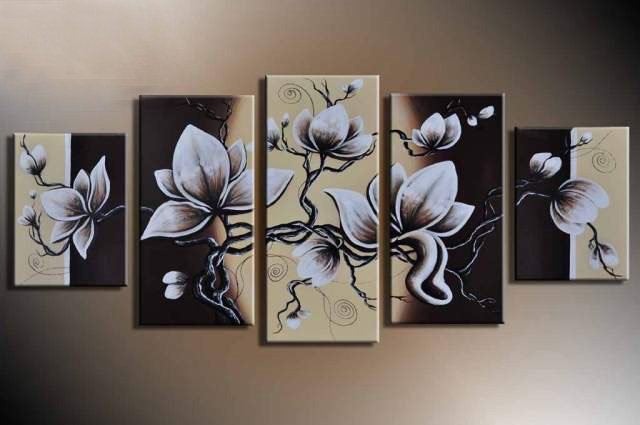 Hand Painted Flowers Painting Oil Canvas Landscape Beautiful 5 Panel Wall Art Home Decor Modern Abstract Picture Canvas Art