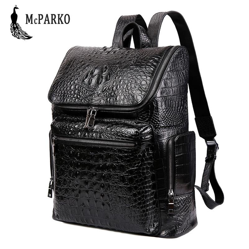 Luxury Genuine Leather Backpack Men Cow Leather Laptop backpack Crocodile Pattern Design Elegant England Style Bagpack For Men