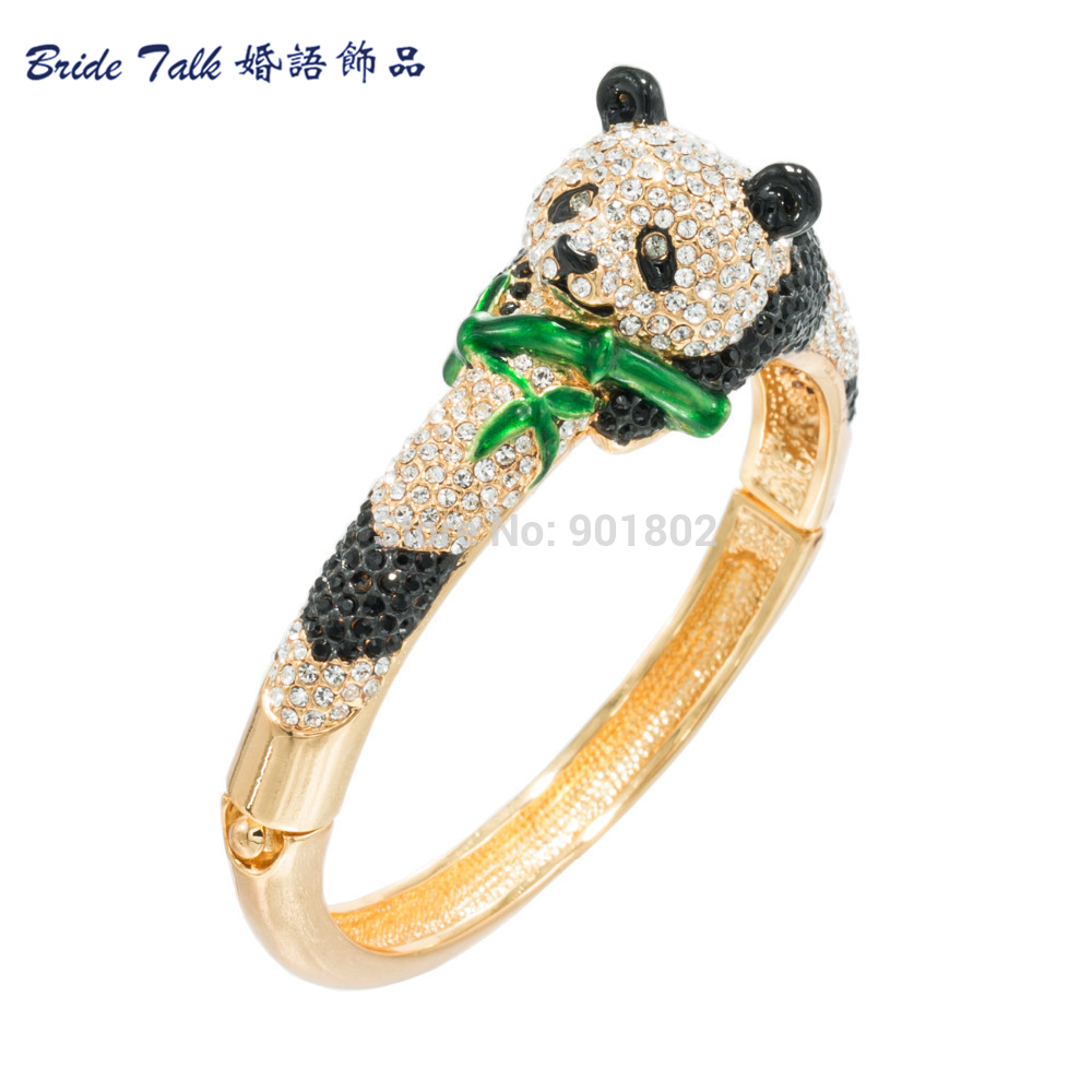 Austrian Crystal High Quality Animal Bangles Bamboo Panda Bracelet Bangle Cuff For Women Jewelry Free Shipping 2 Color JKCA0937M стоимость