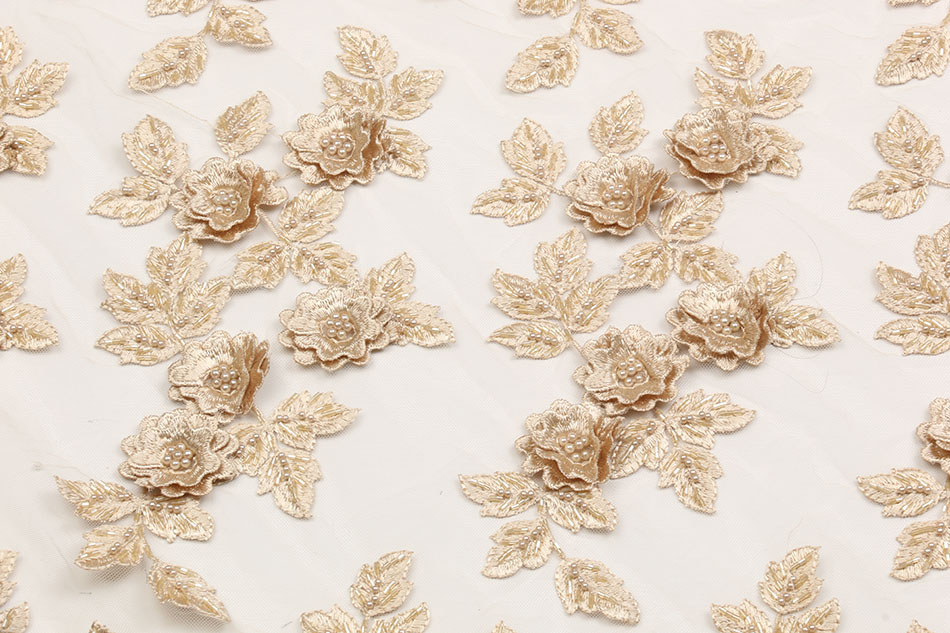 2018 New Arrival Handcrafted African Tulle Lace Fabric With Beads High Quality French Net Lace 3D