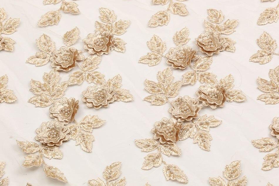 2018 nuevo tejido de encaje de tul africano hecho a mano con cuentas de encaje de red francesa de alta calidad tela de encaje 3D GD1518B 7-in encaje from Hogar y Mascotas    1
