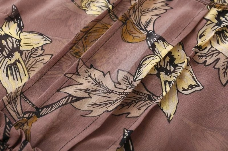 women dress Autumn winter long sleeve ruffle chiffon dress Vintage loose short dress Boho floral print tassel vestidos 20