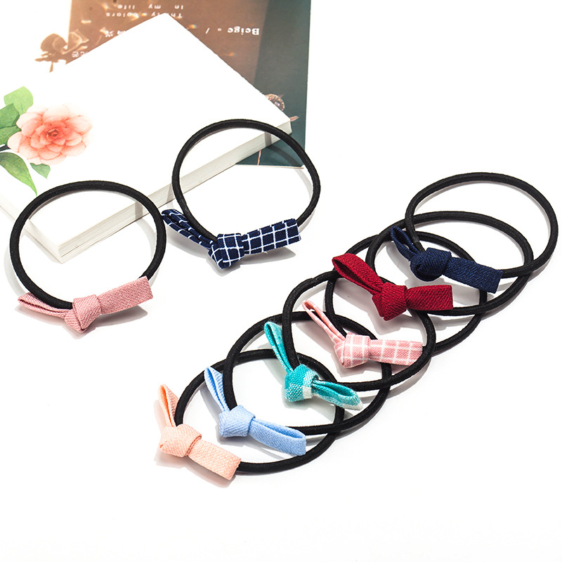 Many Colors Plaid Cotton Cloth Small Bow Knot Fashion Elastic Hair Bands Ponytail Holder Headwear for Kid Women Hair Accessories
