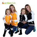 Actionclub Family Matching Outfits Spring Outerwear Mother and Daughter Clothes Baby Girls Kids Jackets Coats Patchwork Clothing