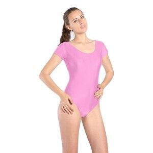 Image 5 - Women Black Red Green Whit Leotard Short Sleeves Ballet Dancewear Lycra Spandex Leotards Bodysuit Gymnastics Costume Unitard