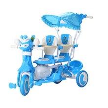 Детский трехколесный велосипед, двойной babyt коляска-велосипед, двойное сиденье с толкателем и музыкой с тентом, детская коляска, коляска-тележка Ba