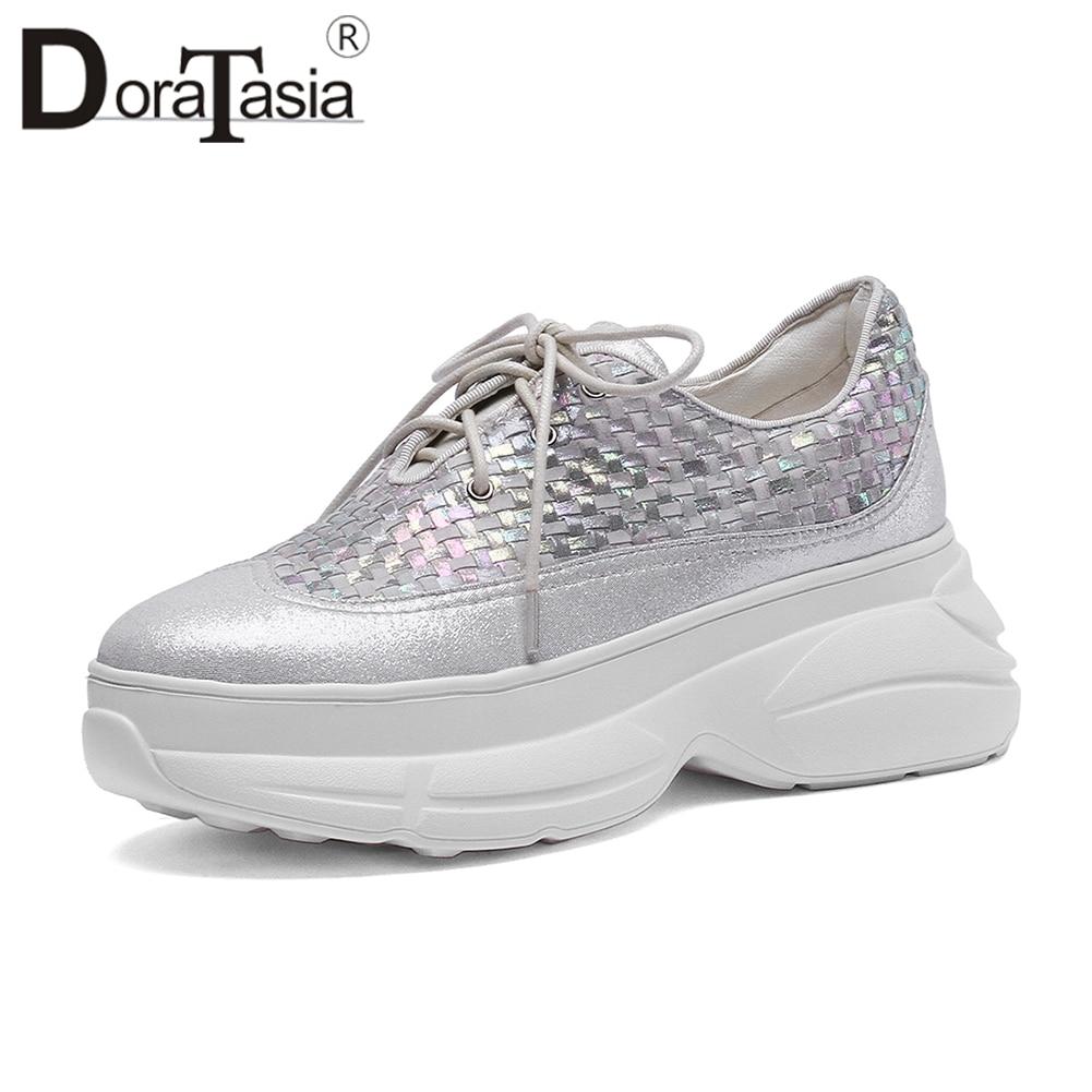 DORATASIA 2019 Spring New Genuine Kid   Leather     Suede   Sneakers Women Fashion Weaving Flat Platform Shoes Woman Casual Footwear