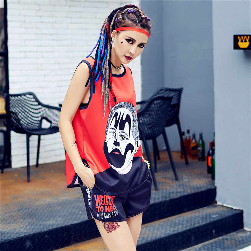 just.be.never harajuku kawaii vest pole shorts suit women tracksuit korean two pieces sets hippie summer cute tops red black
