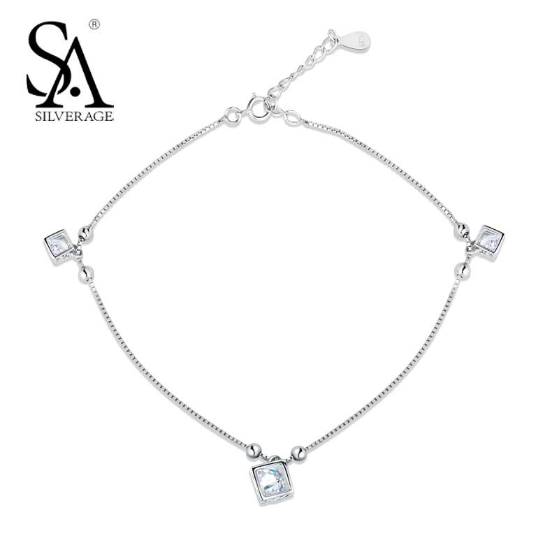 SA SILVERAGE Classic Authentic 925 Sterling Silver Trendy Geometric AAA Zircon Anklets Fine Jewelry Simple Style for Women Gift