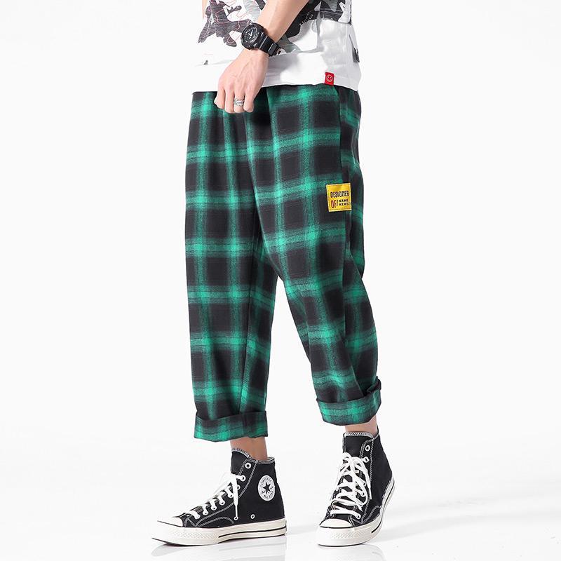 Ankle Length Harem Pants Men Big Size 4XL 5XL Drawstring Pockets Side Plaid Pants Mens Casual Tartan Trousers XXXXXL