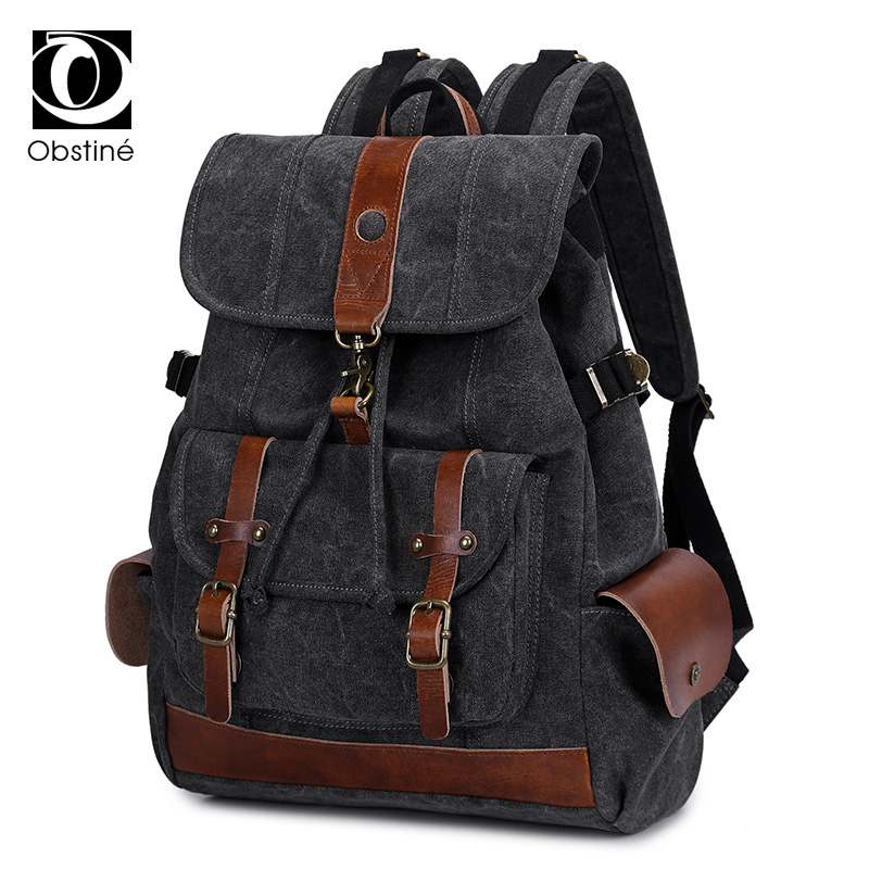 Luxury Canvas Backpack Male for Travel 14 Inch Laptop Backpacks for Men Bagpack Bags for School Fabric Drawstring Back Pack Bag