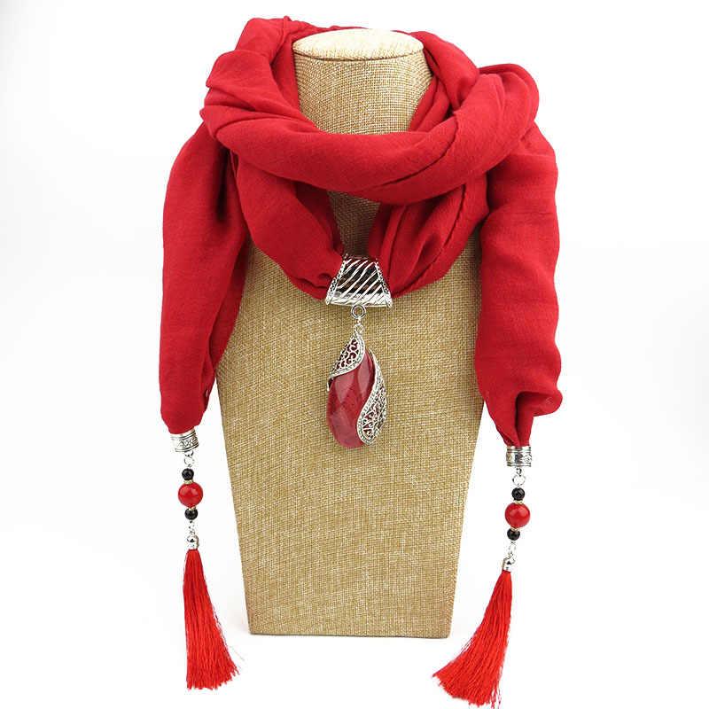 Runmeifaジュエリータッセルスカーフネックレスペンダントネッカチーフスカーフ女性マフラーレディースポリエステル綿のスカーフショールラップ