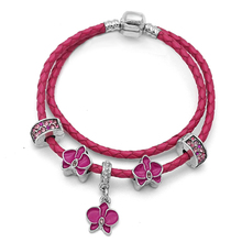 2018 New Rose Red Real Leather Bracelet Silver Orchid Flower Beads Charms Fits Pandora style Women's Fashion Bracelets