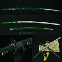 High Quality Full Tang Japanese Samurai Sword 1060 High Carbon Steel Katana Sharp Blade Green Thick Hard Wood Saya Hanbon Forge