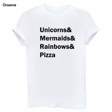 Onseme Unicorns Mermaids Rainbows Pizza Letters Print Women T-shirt Summer Tshirt Sexy Slim Funny Short Sleeve Top Tee T shirts