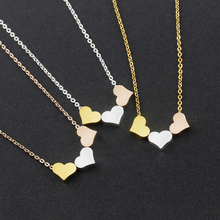 Wholesale 10piece Rose Gold Color Tiny Three Heart Necklace For Women Wedding Jewelry Gift Stainless Steel Chain Choker Necklace(China)