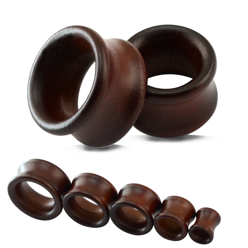 2Pcs/lot Hot selling wood flesh ear tunnel stretcher plugs piercing expander body jewelry 8-22mm ear tunnels plug wooden jewelry image